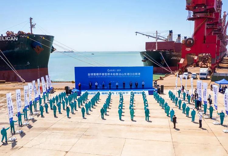 全球首艘开普型原木船靠泊山东港口日照港